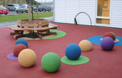 Playtop spheres add a new dimension. The Playtop Spheres are three dimensional colored rubber spheres that are anchored to the ground.